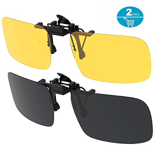 Egao Clip on Sunglasses,Polarized Lens,[2-Pack/Day+Night Vision] Unisex UV400 Flip-Up Polarized Sunglasses Lens - Convenient Fit over Prescription Eyeglasses Ideal for Myopia Driving and Outdoors