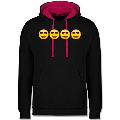 Comic Shirts Verliebter Emoji Deutschland Kontrast Hoodie Schwarz/Fuchsia
