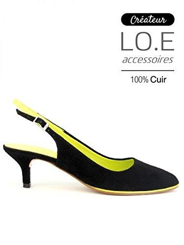 Cendriyon, Escarpin Cuir velours noir VALOR Chaussures Femme Noir