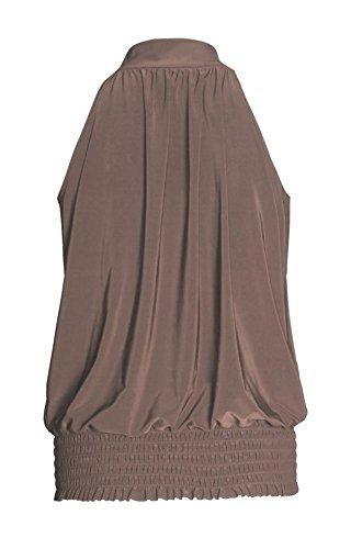 Fast Fashion – Tonte Haut Plus La Taille Licol Plaine Sans Manche Extensible - Femmes Moka
