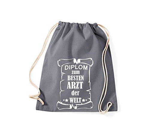 Shirtstown Borse palestra Diploma ad un migliore Medico mondo - Nero, 37 cm x 46 cm grigio