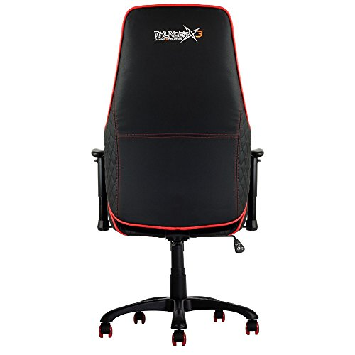 ThunderX3 TGC20BR -Silla Gaming Profesional para Gamers- (Estilo Racing, Cuero sintético, Inclinación y Altura Regulable, Apoyabrazos) Color Negro y Rojo