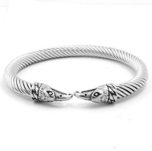L&H Elastische Cool Edelstahl Twisted Cable Eagle Kopf Skandinavier Viking Manschette Armreif Armbänder Für Männer (Öffnen Sie Die Fall Manschette)