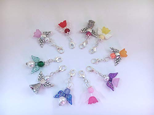 10 Bunt gemischte Perlenengel mit Karabinerhaken, handmade, Schutzengel, Anhänger -