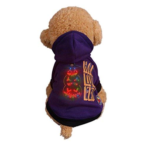 Hunpta Haustier Welpen Schütteln Licht Kleidung Halloween LED Kleidung (S, Lila 2)