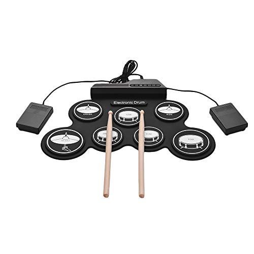 Muslady Elektronische Trommel Set USB Roll Up Silizium Schlagzeug Kompakt Größe Digital 7 Drum Pads mit Trommelstöcke Fußpedale zum Anfänger Kinder