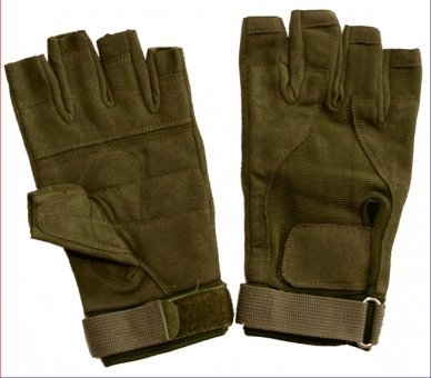 Paintball Handschuhe - Halbfinger - oliv - Wildleder, Größe XL