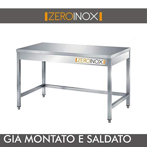 ZeroInox Professioneller Edelstahl-Tisch, alle Maße, Tiefe 80 cm. Küche Catering Restaurant Pizzeria Hotel
