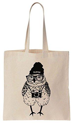 Super Hipster Owl With A Vintage Camera Tote Bag Baumwoll Segeltuch Einkaufstasche (Tote Baumwolle Oversized)