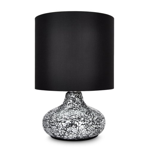 Modern Crackle Glass Mosaic Mirror Effect Padded Base Table Lamp With Elegant Black Light Shade