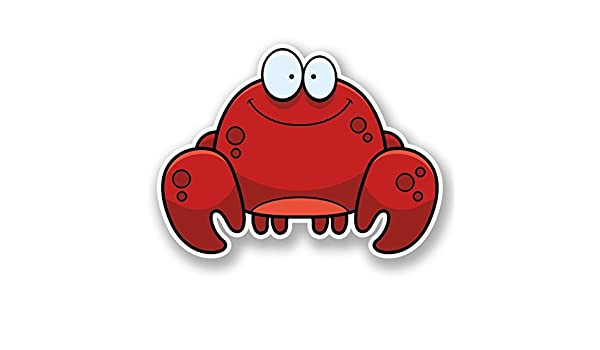 2 x Happy Crab Vinyl Sticker Laptop Travel Luggage Car #5900