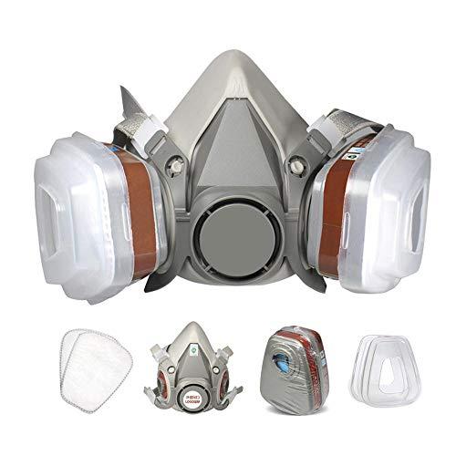 Hamkaw Maschera Anti-Virus Professionale Maschera Protettiva montata su Testa Adatta per verniciatura, irrorazione di pesticidi, Protezione Chimica, Efficace Contro Polvere, Gas nocivi
