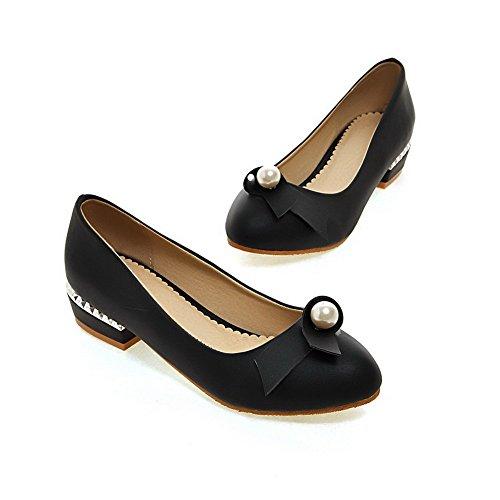 VogueZone009 Femme Mosaïque Matière Souple à Talon Bas Tire Rond Chaussures Légeres Noir