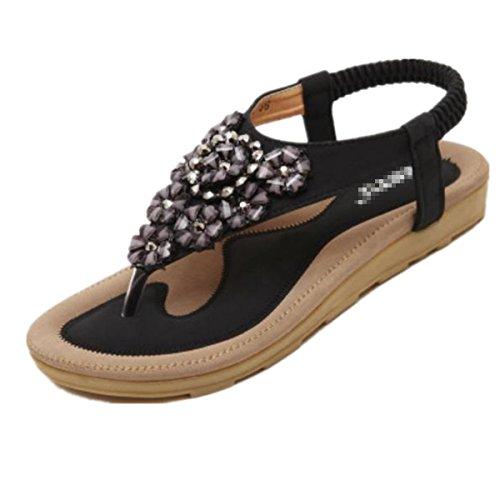 SHUNLIU Frauen Sommer Sandalen Klippzehesandelholze Strand-Schuhe Flache Strand Schuhe Schwarz