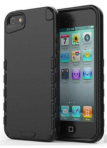 iPhone 5 hülle, iPhone se Holster hülle Flip nach oben und unten Handy hülle Premium PU Leder Tasche Flip Case Etui Handy Schutz Hülle für Apple iPhone 5 / 5s se - Rot Schwarz 3