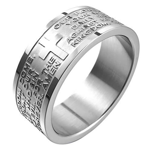 Finder-fall (MunkiMix Breite 8mm Edelstahl Ring Band Silber Ton Englisch Bibel Herr Gebet Kruzifix Kreuz Größe 67 (21.3) Herren,Damen)