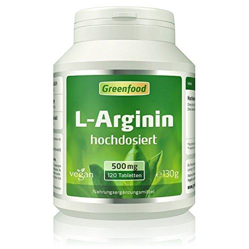 Greenfood L-Arginin, 500 mg, 120 Tabletten, hochdosiert, vegan - aus natürlicher Fermentation. Ohne künstliche Zusätze.