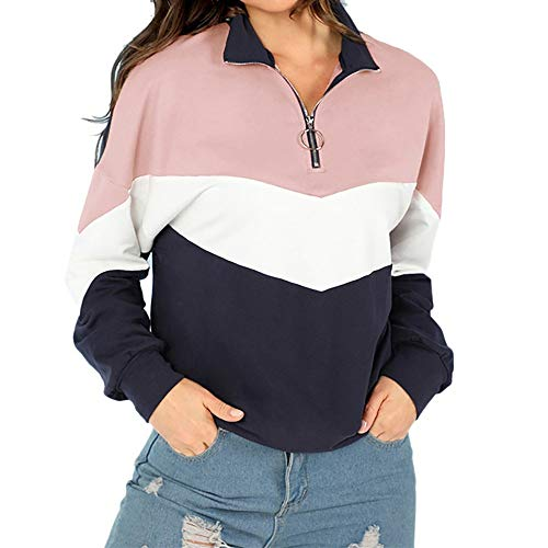 Frauen Herbst Patchwork O-Ring Reißverschlüsse Sweatshirt Pullover Spleißen Shirt MYMYG Frau Pullover Langarmshirt Sweatshirt (Rosa,EU:40/CN-XL)