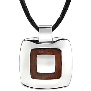 Revoni Design Extraordinaire - Collier avec pendentif en Acier inoxydable et Bois rouge - Inspiration carré pour homme - Cordon noir