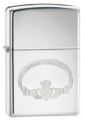 Zippo Unisex Freindship-Loyalty-Love Windproof Lighter, High Polished Chrome, One Size