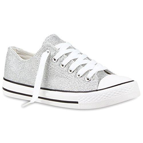 Stiefelparadies Damen Sneakers Turn Freizeit Low Sneaker Übergrößen Prints Glitzer Denim Schuhe 114910 Silber 36 Flandell