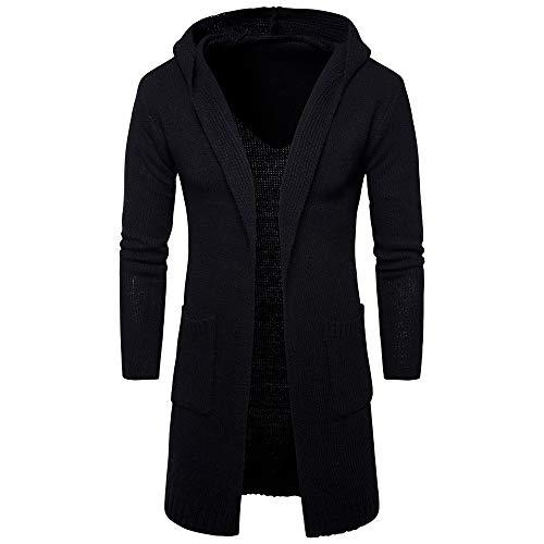 Zolimx Herren Slim Fit Kapuzenpullover Dicker Strickjacke Kapuzenjacke Fashion Cardigan Lange Trenchcoat Jacke (Schwarze Trenchcoats Für Männer)