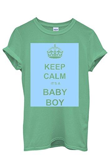 Keep Calm it is a Boy Maternity Funny Men Women Damen Herren Unisex Top T Shirt Grün