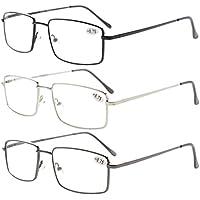 6d6337d1cc 3-pack Eyekepper Readers Rectangular Spring Temple Large Metal Reading  Glasses Men +3.0