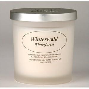 Raps-Wachs-Kerze im Glas, Winterwald
