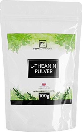 L-Theanin Pulver [100 g] | RUHE & KONZENTRATION | Entspannung durch grünen Tee | Vegan, ohne GVO, Gluten & Milch | Verpackt in ISO-zertifizierten Betrieben in GB