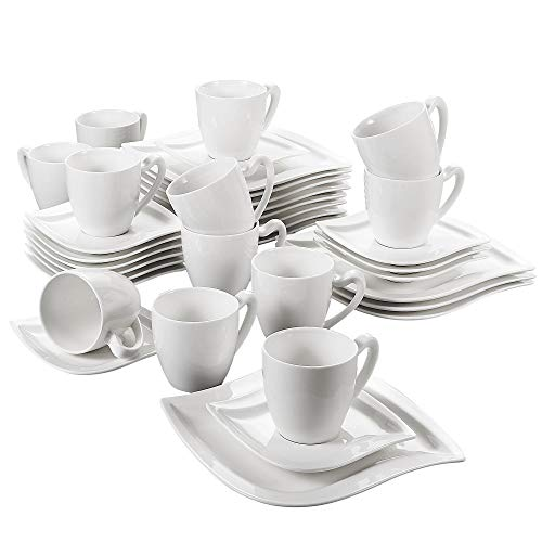 MALACASA, Serie Elvira, 36 TLG. Set Cremeweiß Porzellan Kaffeeservice Geschirrset Tafelservice mit Kuchenteller, 230ml Tasse, Untertasse Geschirr für 12 Personen
