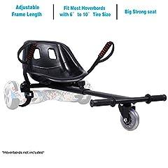 Idea Regalo - yabbay Hover Go Karts Attachment con Seggiolino Grande da Corsa e Ruota Durevole- Overkart Compatibile con Hoverbords 6.5