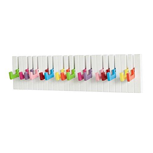 SoBuy® Piano Wandhaken,Garderobenleiste,Wandgarderobe,Kleiderhaken,FRG13-F (Bunt-L60cm)