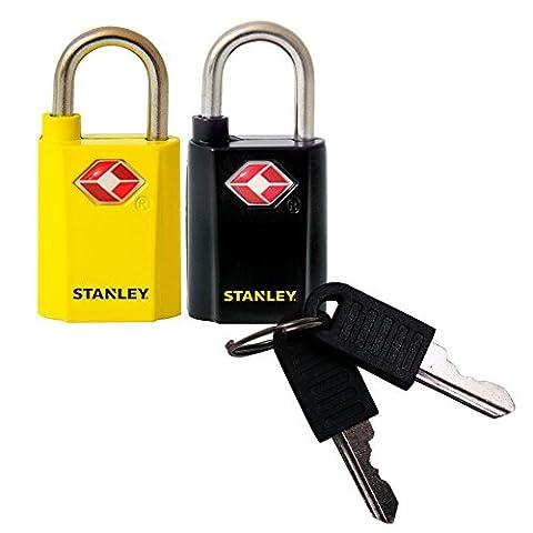 Stanley 81181393401 Cadenas à clé unique avec indicateur TSA 20 mm 2 pièces Noir/Jaune