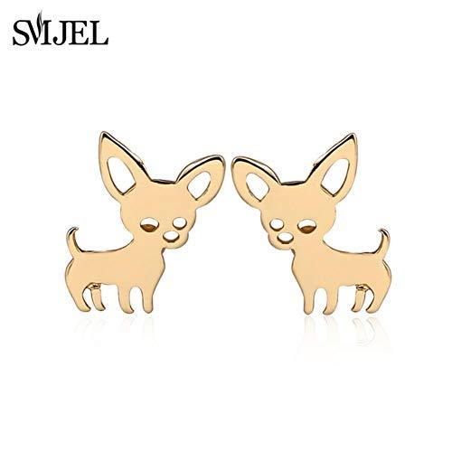 Neue Nette Chihuahua Haustier Anhänger Halsketten für Frauen Lieben Mein Haustier Hund Halskette Halsband Ketting Schmuck Geschenke, Gold Earing 90