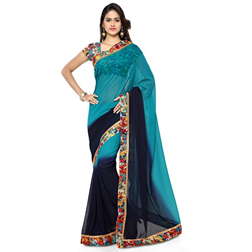 Aaina Blue Georgette Embroidered Saree  available at amazon for Rs.429