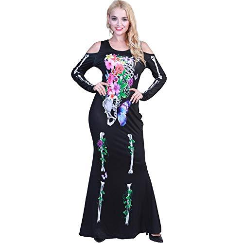 eleton Cosplay Scary Costume Halloween Women Maxi Long Dress ()