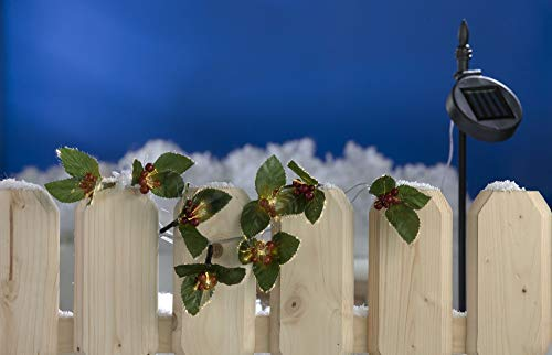 Buri LED Solar-Lichterkette Ilex Stechpalme Girlande Weihnachtsdeko Balkondeko