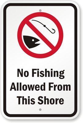 PotteLove No Angeln Allowed aus Dieser Shore mit Fisch Graphic Zeichen, 45,7x 30,5cm -