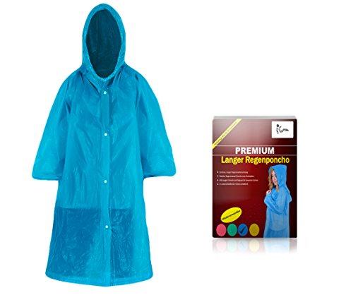 Regenmantel lang zum Zuknöpfen mit Kapuze für Erwachsene (1,60m bis 2,00m) - Stabiler unisex Regenponcho langarm wiederverwendbar für Outdoor-Notfall Regencape, Fahrrad Regenponcho (blau)