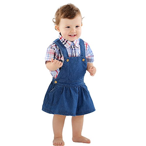 Bebone Baby Girls Denim Suspender Skirt+Underwear (Blu, per le bambine dai 6 ai 12 mesi)