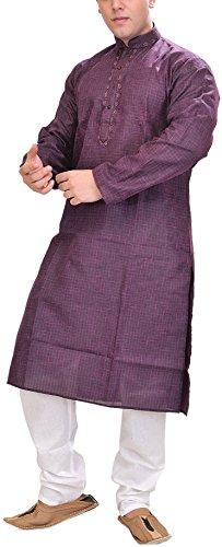 Exotic India Man's Kurta Pyjama with Woven Checks and Embroidery on Neck...
