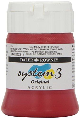 Daler-Rowney System 3 Acrylfarbe, 250ml, Kadmiumrot dunkel