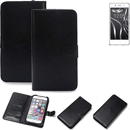 K-S-Trade® 360° Wallet Case Handyhülle Für BQ Readers Aquaris X5 Plus Schutz Hülle Smartphone Flip Cover Flipstyle Tasche Schutzhülle Flipcover Slim Bumper Schwarz, 1x
