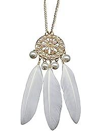 Lureme®de largo collar de estilo de Bohemia de la vendimia dorado perla simulada pluma blanca colgante de niña y la mujer (01003015)