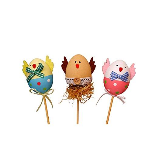 Tinksky 3pcs divertente pulcino design di plastica da colorare dipinte uova di pasqua con bastoncini decorazioni fai da te per bambini regali giocattoli per natale pasqua casa festa favori