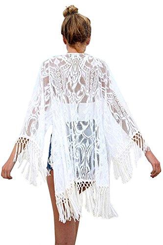 Jusfitsu Damen Sommer Spitzen Bluse Tops Strand Badeanzug Bedecken Pareos Kimono Cardigan Strandkleid Weiß Etikett S = DEXS (Top Kimono)