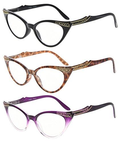 Eyekepper Damen 3 Paar Brillen Damen Vintage Cat Eye Brillen(Schwarz/Tortoise/Lila Transparent, 0.00) (Cat Brille-leser)