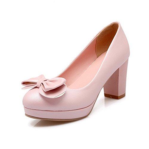AllhqFashion Damen Weiches Material Rund Zehe Hoher Absatz Ziehen Auf Rein Pumps Schuhe Pink