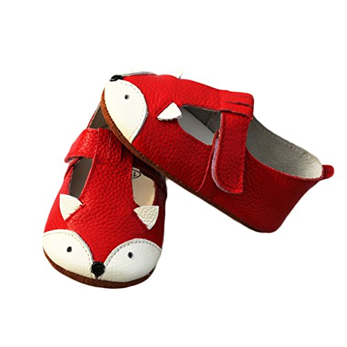 FYGOOD Chaussures Souples Bébé Chaussons Enfant Unisex en cuir Doux Blanche L:12-18mois/longueur intérieur:13CM renard rouge